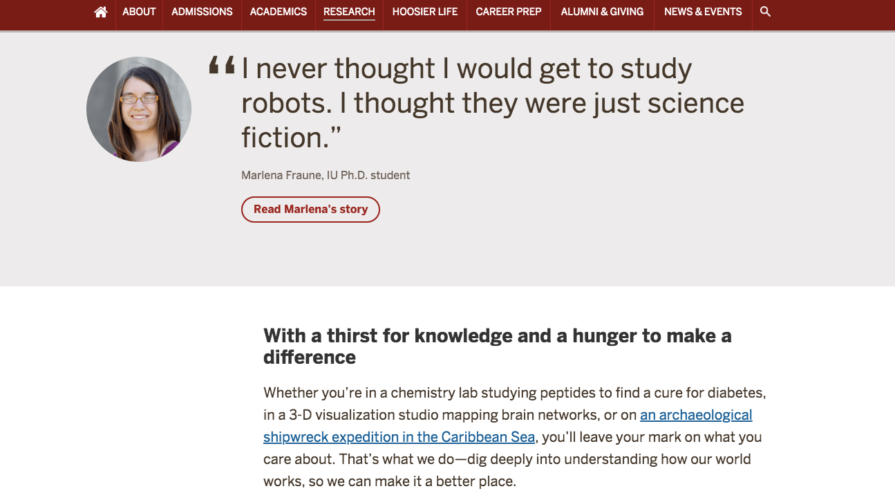 screenshot capturing Indiana University's Research page on their website with articles about student research and quotes
