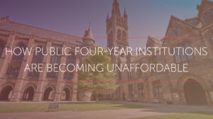 Picture of a stately campus building under the words how public four year institutions are becoming unaffordable