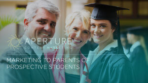 Picture of an older man and woman standing with a graduate under the words marketing to parents of prospective students